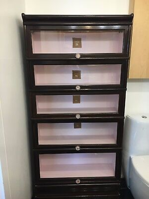 Antique Macey 910 Oak 5 Stack Barrister Bookcase with Glass sliding doors