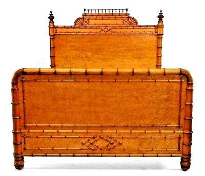 American Victorian Faux Bamboo Full Size Birds Eye Maple Bed