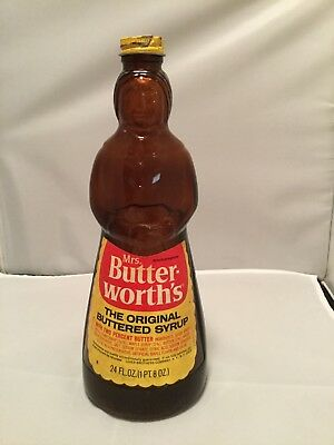 Vintage Mrs. Butterworth's Glass 24 Ounce Syrup Bottle w/ Metal Lid .79 cents