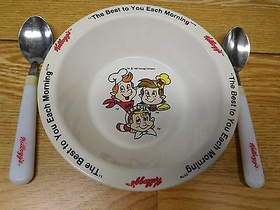 """VINTAGE Kellogg's Rice Krispies """"The Best to You Each Morning"""" Bowl + 2 spoons"""