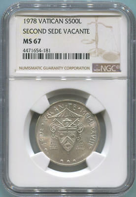1978 Vatican City 500 Lire. Second Sede Vacante. NGC MS67