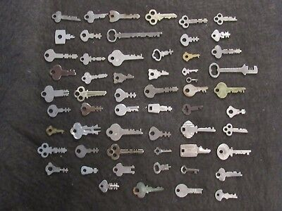 Lot of 50+ Antique Vintage Cabinet Keys Slot Skeleton Music Barrel Padlock Key