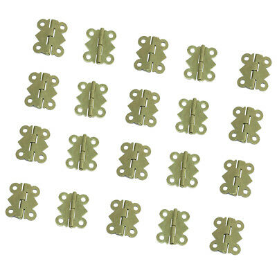 20Pieces Antique Butterfly Door Cabinet Hinges with 80 Pieces Screws Yellow