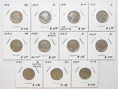 Wholesale Group of 11 Earlier-Date Buffalo Nickels Grading AG to Fine, 1916-1927