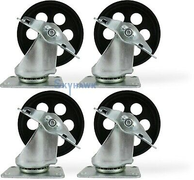 """4 PC 4"""" X 2"""" Wide Rubber Coated Bearing Wheel Casters top Swivel Caster CZC4"""