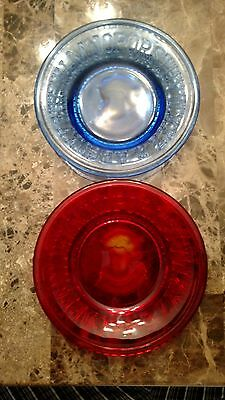 Antique Vintage.CLAY'S CRYSTAL WORKS Alphabet plates. 1 Blue , 1 red