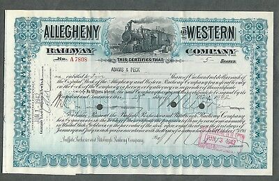 1942 Allegheny and Western Railway Company Stock Certificate
