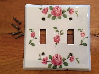 Vintage Made in France Double Light Switch Plate Cover Porcelain Flower Rose J.M