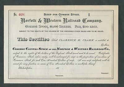 Unissued 188? Norfolk & Western Railroad   Stock Certificate