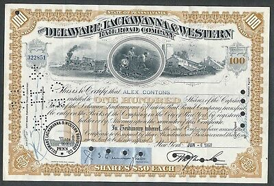 1958 Delaware Lackawanna & Western Railroad Co Stock Certificate