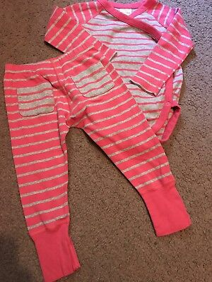 Hanna Andersson Girls Pink Stripe Crossover Bodysuit Wiggle Pants Sz 80 Euc