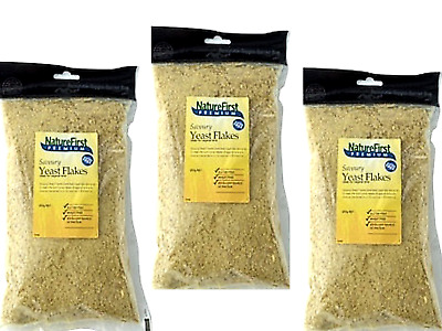 3 x 200g Nature First Nutritional Savoury Yeast Flakes * strong cheesy flavour