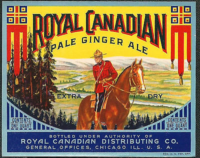 Vintage 1940's Royal Canadian Pale Ginger Ale Label Chicago IL,USA  NOS Mountie