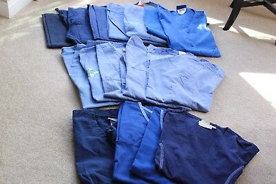 Mixed Blue Scrub Lot XS/S 16 Pieces