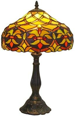 Tiffany Style Floral Table Lamp Traditional Harp Style Handcrafted Shade Decor