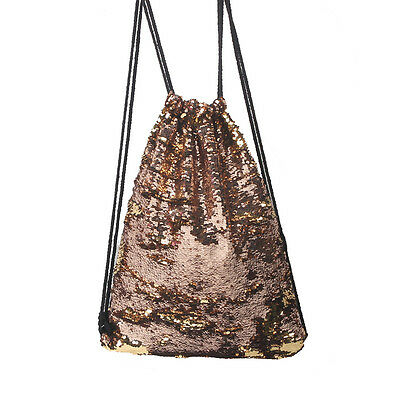 USA Women Sequin Drawstring Backpack Shoulder Bag Paillette Shoping Handbag Gold