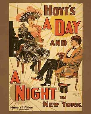 Vintage Antique Rare Show  POSTER  1898    A Day And A Night In New York    NYC