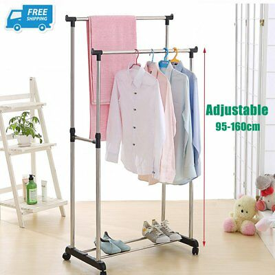 Portable Stainless Steel Double Organizer Hanger Rack Garment Clothes Dryer AUB