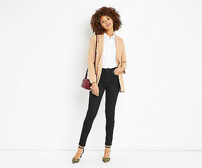Oasis Stiletto Black Lily High Rise Ankle Grazer Skinny Jeans Rrp £45.00