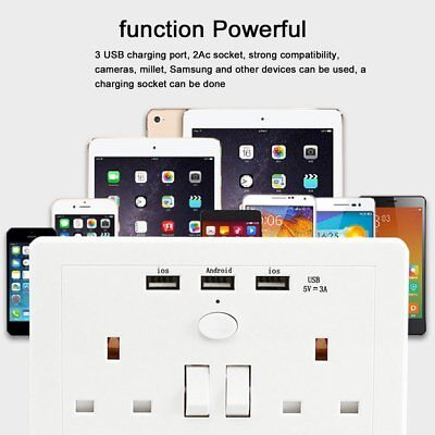Double Wall Plug Socket 2 Gang 3A with 2 USB Ports Screwless Slim Flat Plate Br