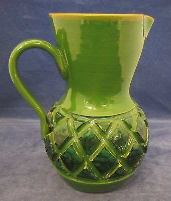 "Vintage Italian Pottery Handmade Pitcher Diamond Cut 6 1/4"" Tall Asis Flake SHP"