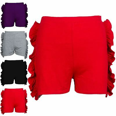 Kids Childrens Girls High Waisted Side Peplum Ruffle Frill Casual Mini Shorts