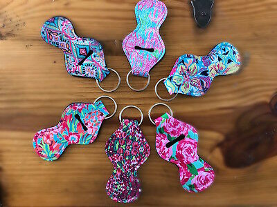 Neoprene Chapstick Holder Keychain - 3 pack * 3 Unique Color Combo's