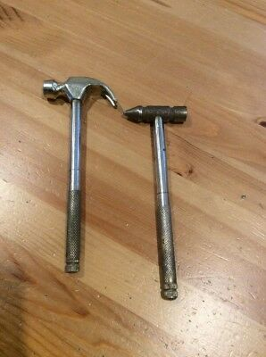 Pair Of Vintage Jewellers Tools; Hammer; Old Tool; Screwdrivers Inbuilt; Brass