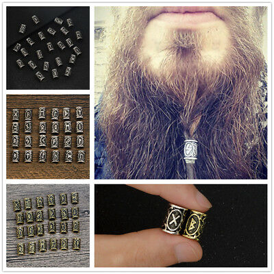 24pcs Viking Rune Beads Different Kinds For DIY Jewelry Or Hair Beard Bronze Hot