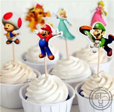 12x Super Mario Cupcake Food Cake TOPPER Party Supplies Lolly Loot Bags Bunting