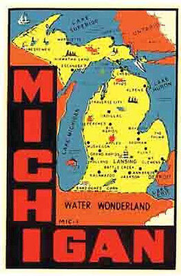Michigan  - Great Lakes -  Vintage Style Travel Decal sticker