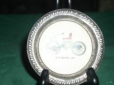 Sterling Silver Rimmed  Coaster w Ceramic Center Insert Ford 1st Vehicle 1896