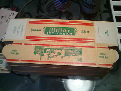 Vintage Antique   Miller's Ice Cream   Advertising Box  New Old Stock   1940's
