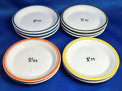 French Absinthe Saucer Set of 10 Green, Blue, Orange, Yellow Trim w/ Drink Price