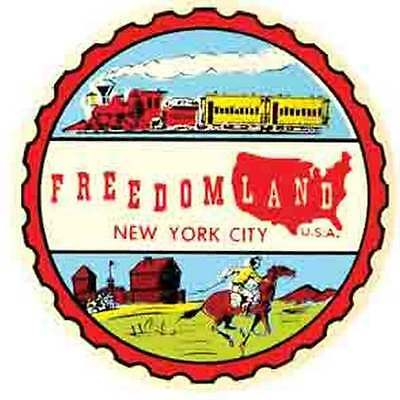 Freedomland   New York City   1950's  Vintage Looking   Travel Decal Sticker