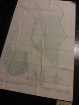 Antique Vintage US Navy Nautical Chart Aeronautical Map  Kwajalein Atoll (B) Pac
