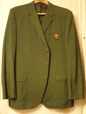 VGC Vtg Boy Scouts of America Scoutmaster Green Blazer Jacket Coat BSA Patch 48L