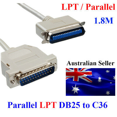 New 1.8m Lpt Parallel Cable DB 25 Pin Male to 36 Pin Female IEEE 1284 Printer