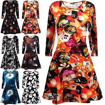 New Womens Ladies Long Sleeves Fancy Coustume Skull Swing Skater Mini Dress