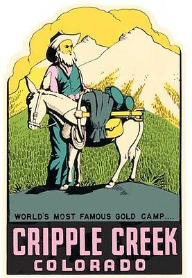 Cripple Creek  Colorado  CO  Vintage  1950's-Style  Travel Decal  Sticker  Label