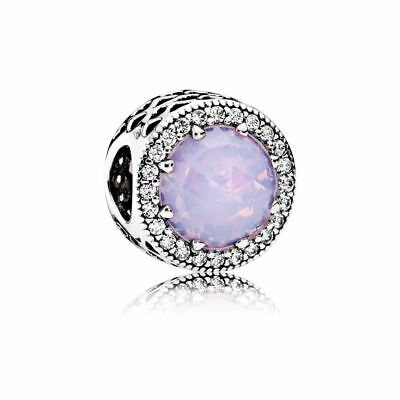 Genuine Pandora Silver Clear CZ Radiant Hearts Pink Crystal Charm 791725NOP