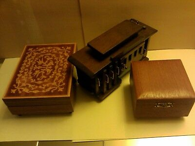 Vintage Working Wooden Music Box Lot of 3