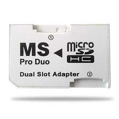 NEW CR-5400 MicroSD MicroSDHC TF Card to MS Pro Duo Dual Slot Adapter fur PSP