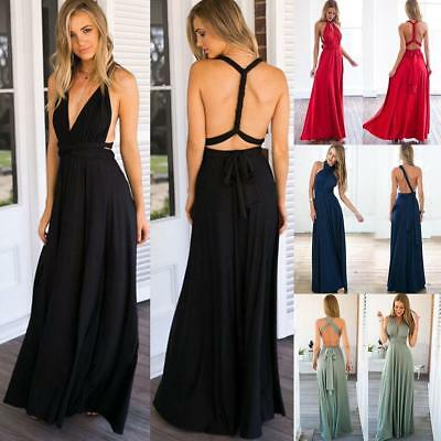 Women Multi Way Wrap Convertible Formal Bridesmaid Maxi Dress Party Evening Gown