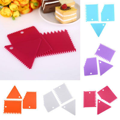 3pcs Cake Edge Side Plastic Scraper Cutter Butter Icing Baking Smoother Tools