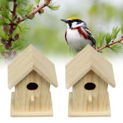 Wooden Outdoor Birds Wood Nesting House Nest Home Accessories Craft Yard Mini