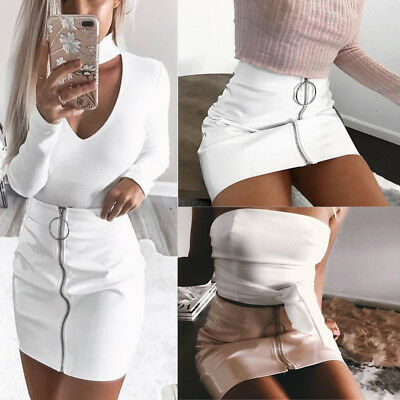 Women High Waist PU Leather Mini Skirt Plain Flared Pleated Skirt Short Sexy USA
