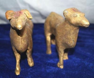 Antique Brass Or Bronze 2 Goat Statue Figure From India Size 11 X11 Cms