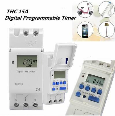 Digital LCD DIN Programmable Weekly Rail Timer AC 220V Time Relay Switch THC15A