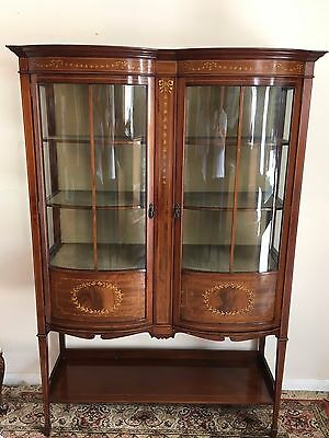 Outstanding Edwardian Inlaid Mahogany Shaped Display Cabinet